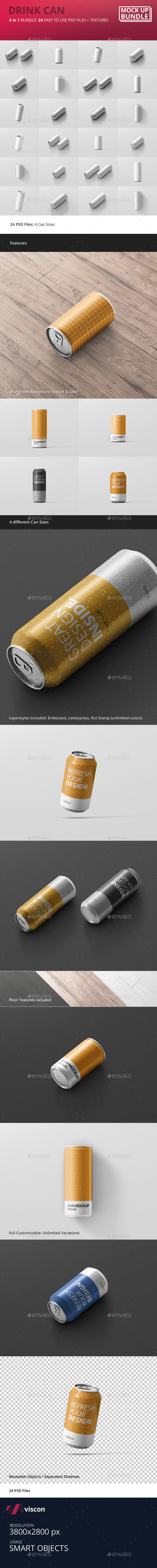 Drink Can Mockup Bundle - Food and Drink Packaging