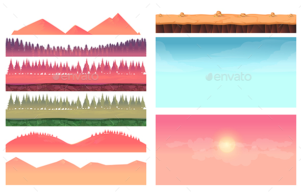 Landscape Constructor Cartoon Elements - Landscapes Nature