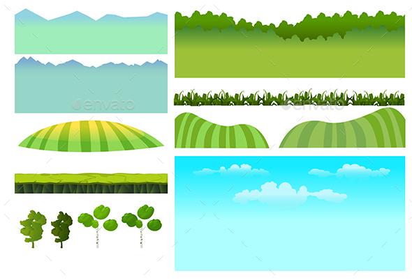 Landscape Elements Set - Landscapes Nature