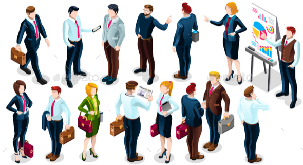 Isometric People Business Deal Icon 3D Set Vector Illustration - People Characters