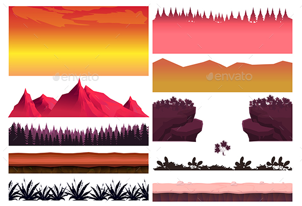 2d Landscape Elements Set - Landscapes Nature