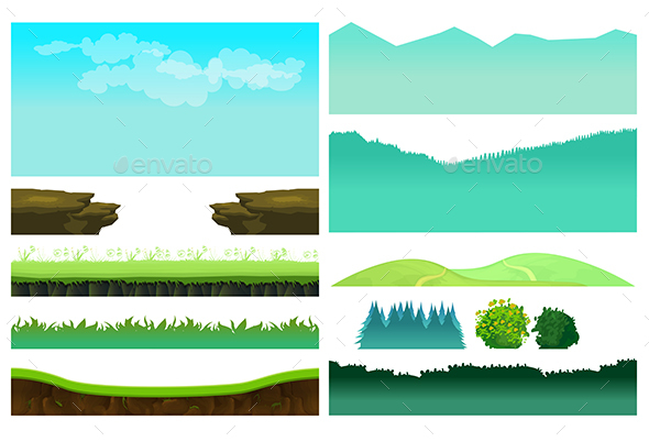 Game Elements Set - Landscapes Nature