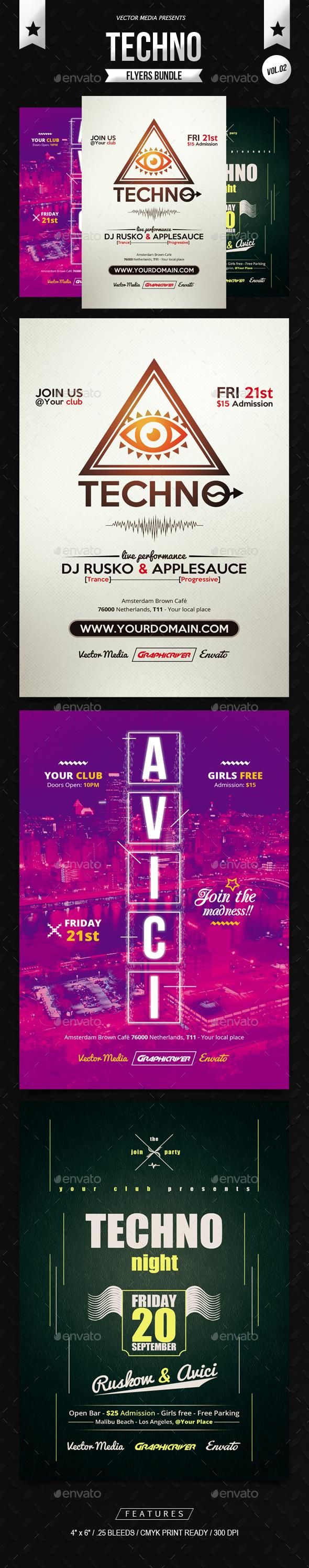 Techno - Flyers Bundle [Vol.02] - Clubs & Parties Events