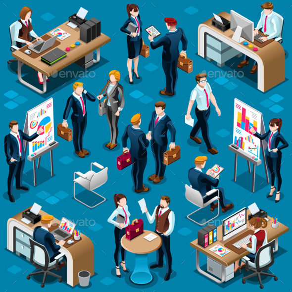 Isometric People Men Agreement 3D Icon Set Vector Illustration - People Characters