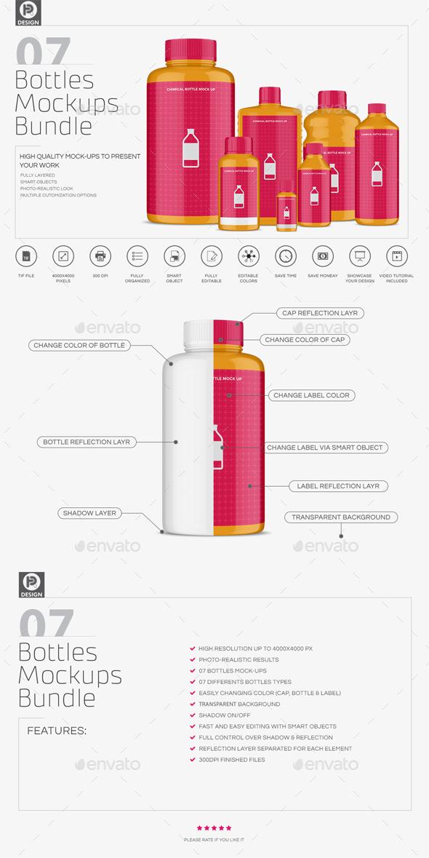 Chemical Bottles Mockups - Packaging Product Mock-Ups