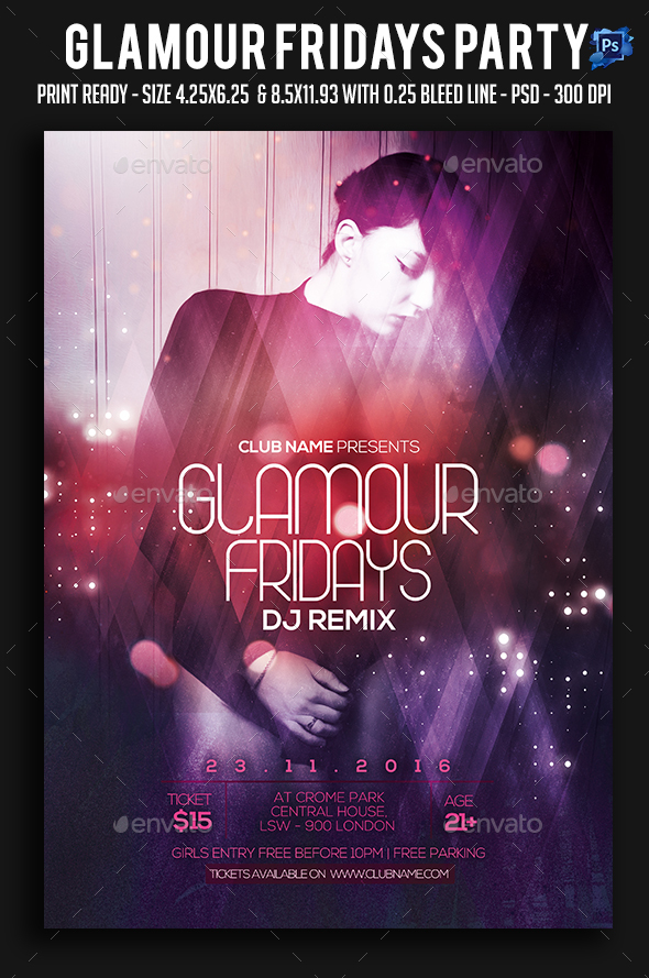 Glamour Fridays Party Flyer - Clubs & Parties Events