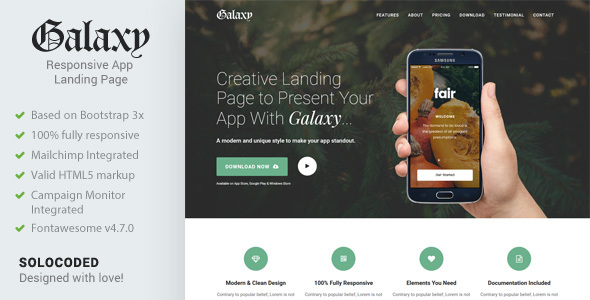 Galaxy – Responsive App Landing Page
