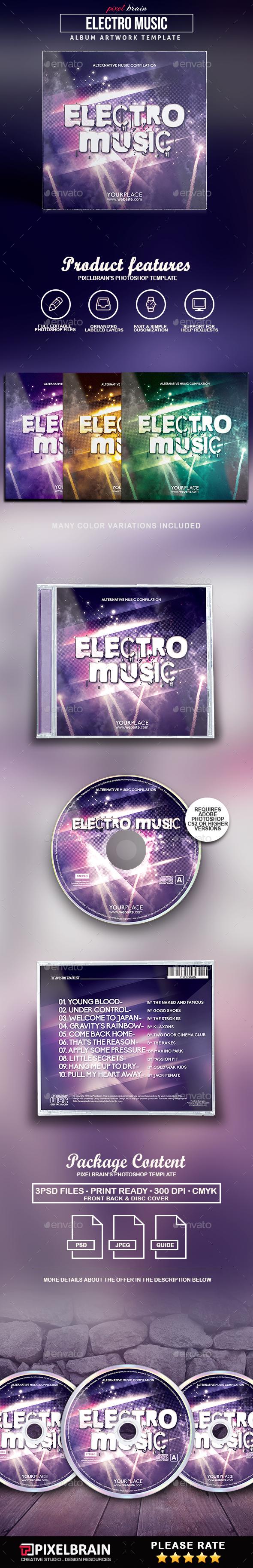 Electro Music CD Cover Artwork - CD & DVD Artwork Print Templates