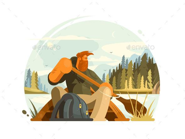 Bearded Man in Canoe - People Characters