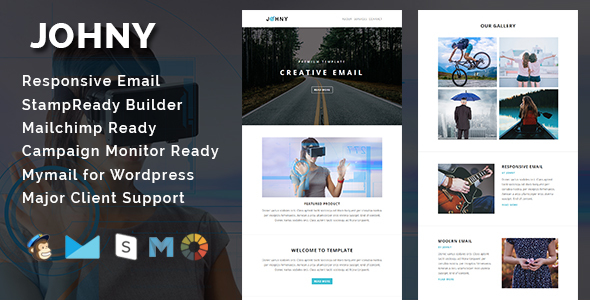 JOHNY - Multipurpose Responsive Email Template With Stamp Ready Builder Access - Email Templates Marketing