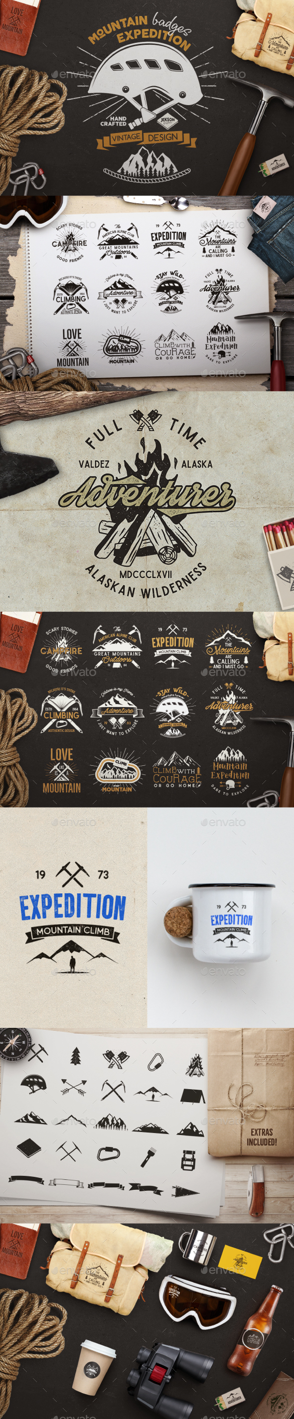 Mountain Expedition Badges - Badges & Stickers Web Elements