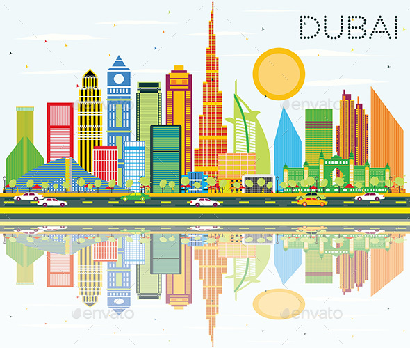 Dubai Skyline with Color Buildings, Blue Sky and Reflection. - Buildings Objects