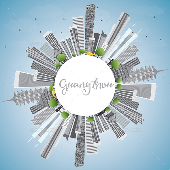 Guangzhou Skyline with Gray Buildings and Copy Space. - Buildings Objects