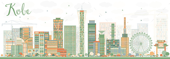 Abstract Kobe Skyline with Color Buildings. - Buildings Objects