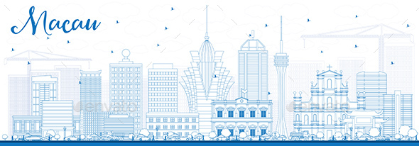 Outline Macau Skyline with Blue Buildings. - Buildings Objects