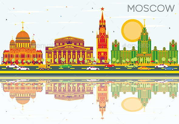 Moscow Skyline with Color Buildings, Blue Sky and Reflections. - Buildings Objects