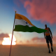 India Flag and Walking Man