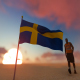 Swedish Flag and Walking Man