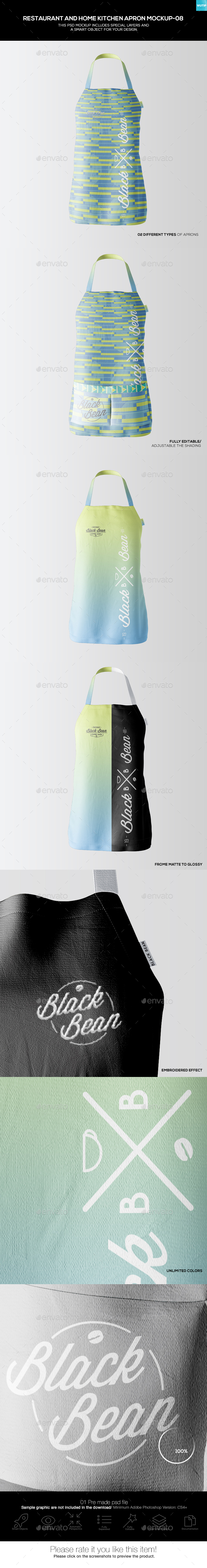 Restaurant and Home Kietchen Apron Mockup-08) - Miscellaneous Apparel
