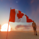 Canada Flag and Walking Man