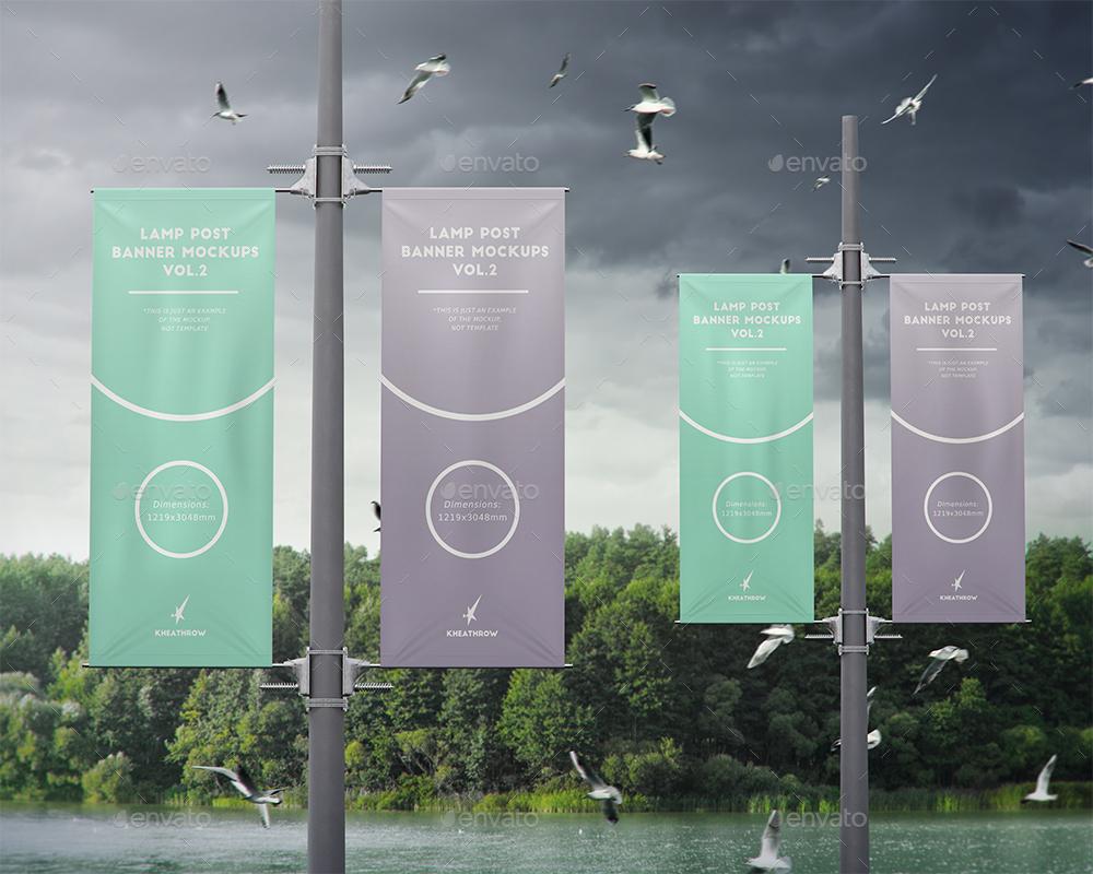 City Lamp Post Banners Mock Ups Vol 2 By Kheathrow