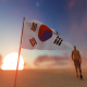 Korea Flag and Walking Man