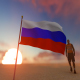 Russia Flag and Walking Man