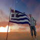 Greece Flag and Walking Man