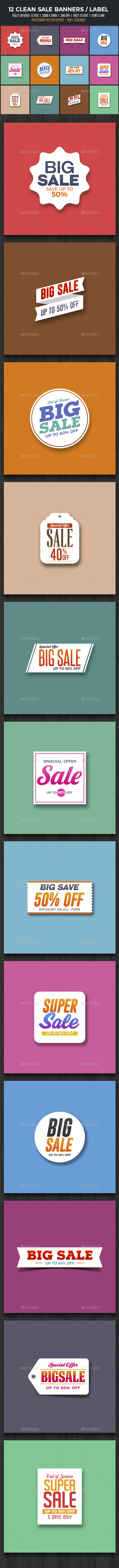 12 Clean Sale Banners / Badges - Banners & Ads Web Elements