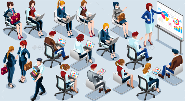 Isometric People Presentation Icon 3D Set Vector Illustration - Vectors