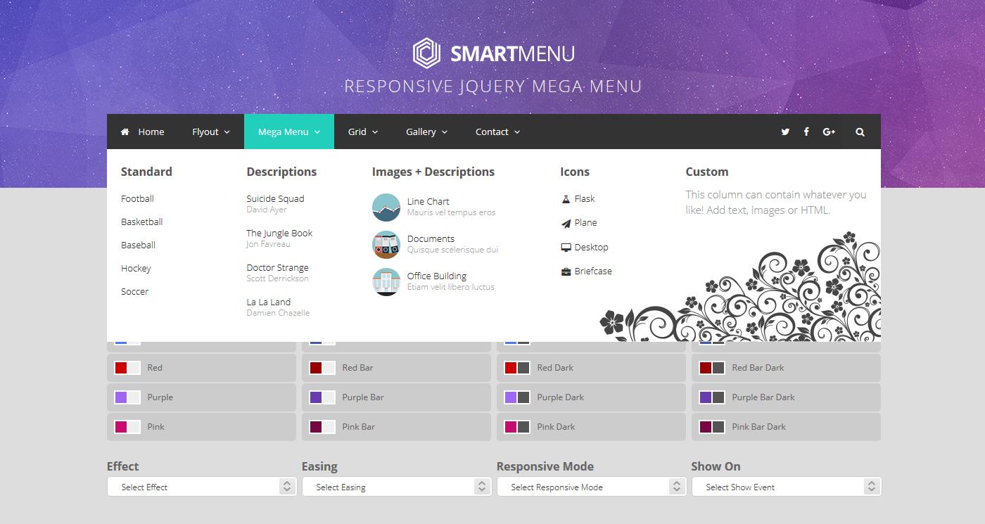 Smartmenu Responsive Jquery Mega Menu By Athenastudio