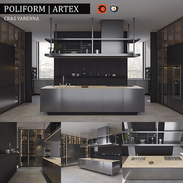 Kitchen Poliform Varenna Artex - 3DOcean Item for Sale