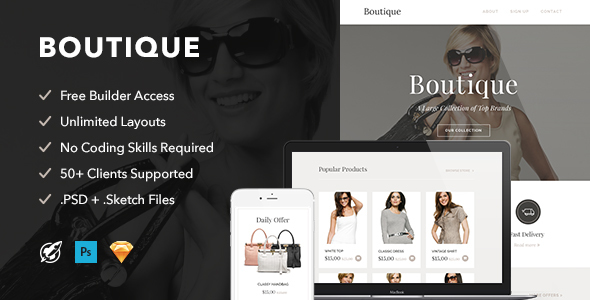 Boutique – Responsive Email + Themebuilder Access