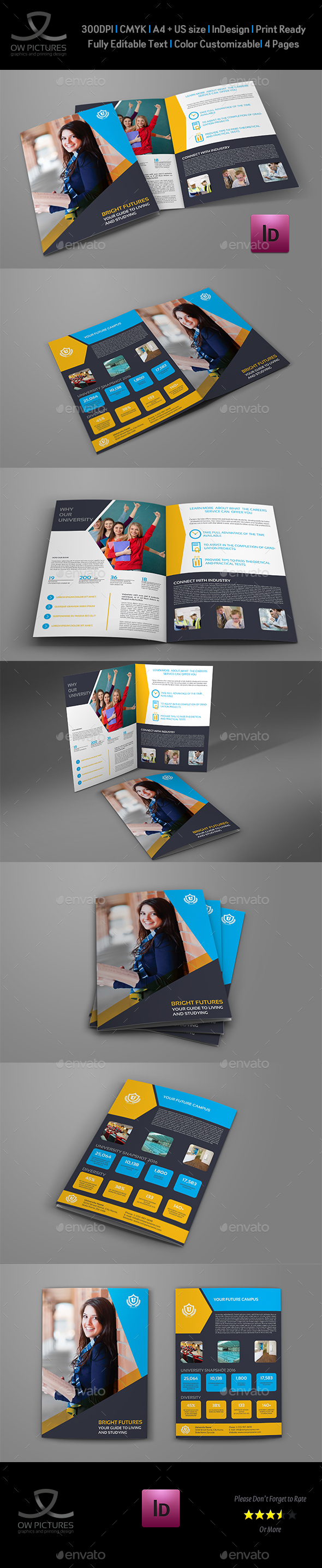 University - College Bi-Fold Brochure Template - Brochures Print Templates