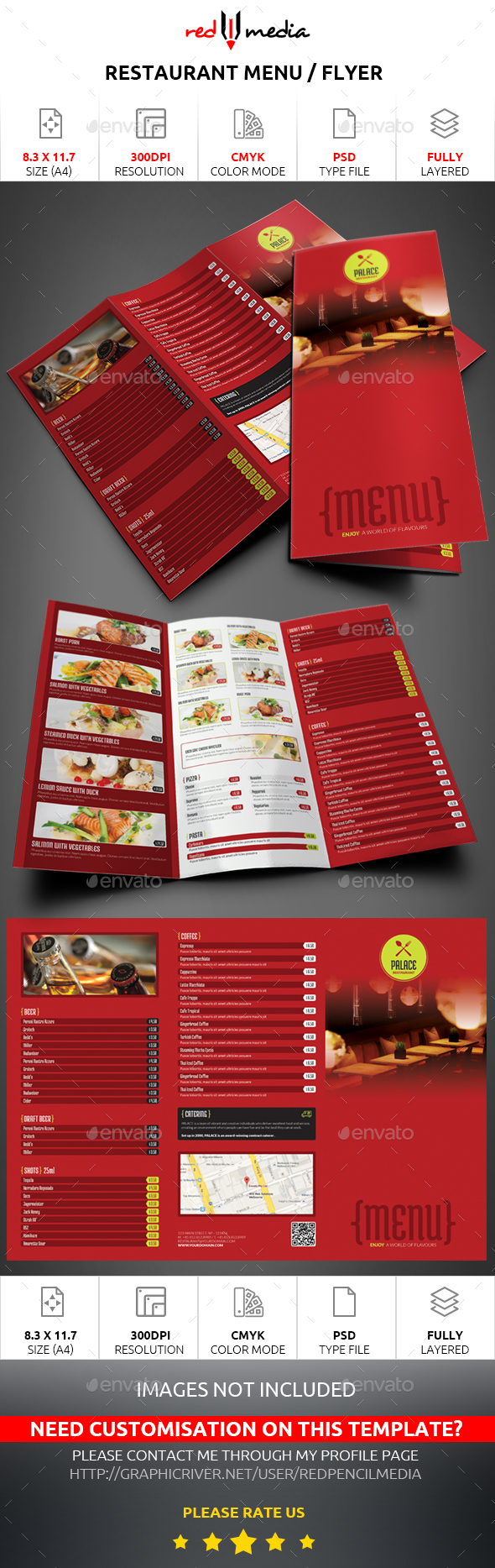 Restaurant Trifold Menu / Flyer - Restaurant Flyers