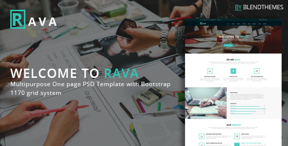 Rava – Creative One Page Multipurpose PSD Template