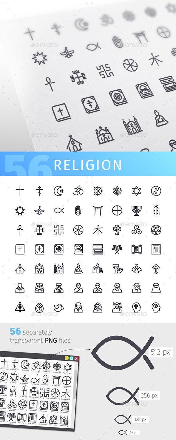 Religion Line Icons Set - Miscellaneous Icons