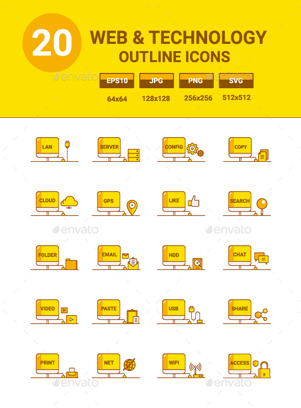 20 Web Technology Icons - Web Icons