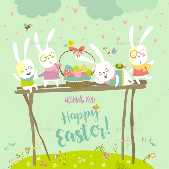 Bunnies Celebrating Easter - Miscellaneous Seasons/Holidays