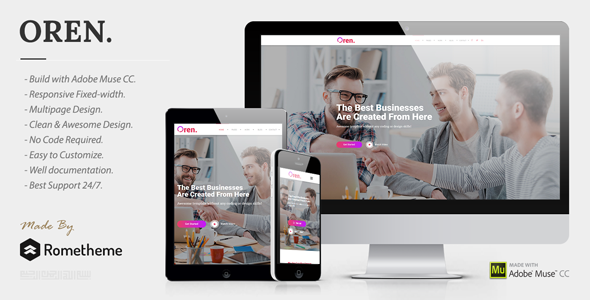 OREN - Responsive Multipurpose Adobe Muse Template - Creative Muse Templates