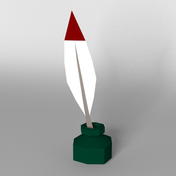 Low poly quill pen - 3DOcean Item for Sale