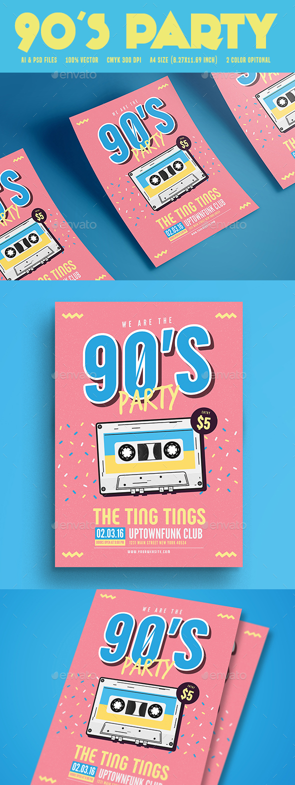90's Music Party - Flyers Print Templates