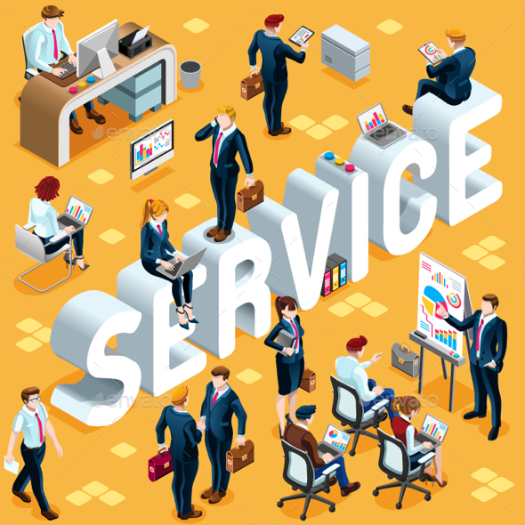 Isometric People Service Icon 3D Set Vector Illustration - Services Commercial / Shopping