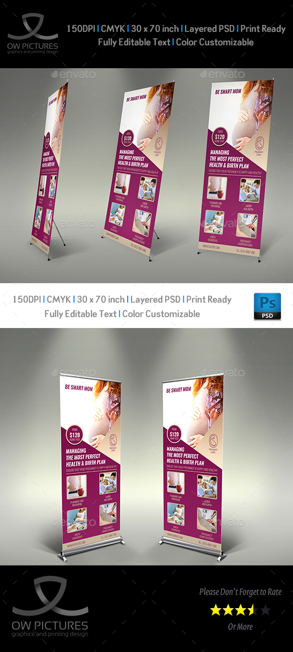 Pregnancy Signage Rollup Banner Template - Signage Print Templates