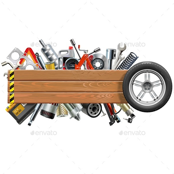 Vector Board with Wheel and Car Spares - Industries Business