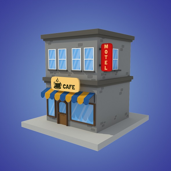 cafe motel cartoon building low poly - 3DOcean Item for Sale