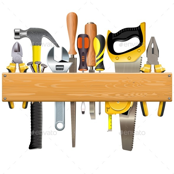 Vector Wooden Plank with Tools - Industries Business