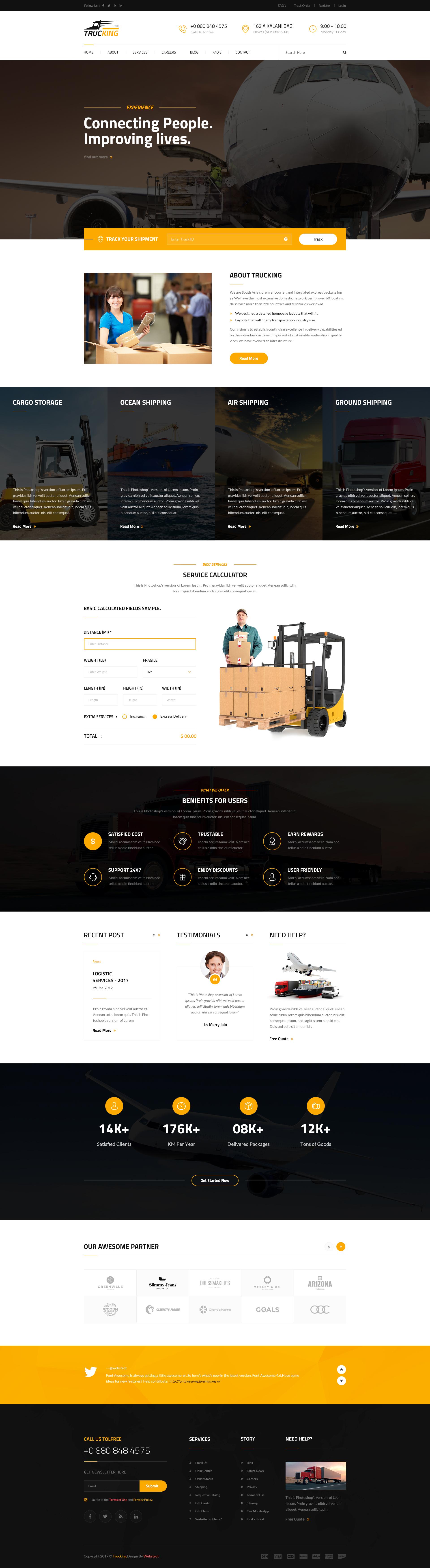 Trucking logistics and transportation psd template