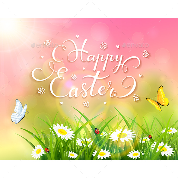 Easter Theme with Grass and Flowers on Pink Background - Miscellaneous Seasons/Holidays