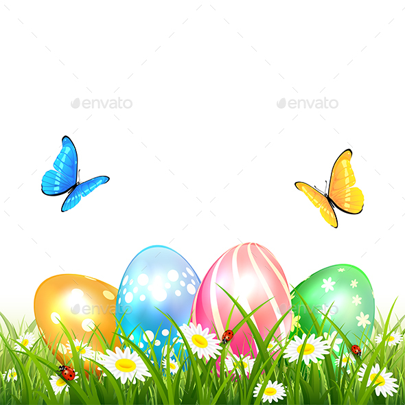 Butterflies Flying over Colored Easter Eggs on Grass - Miscellaneous Seasons/Holidays